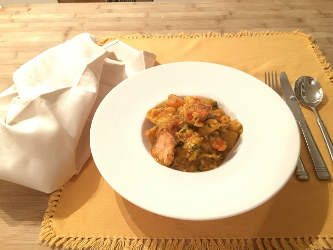 Chef Bernie's seafood supper with sweet potato