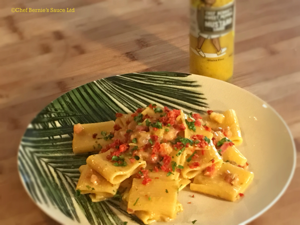 Cheesy Bacon Pasta with  Sweet Pepper & Mustard Sauce