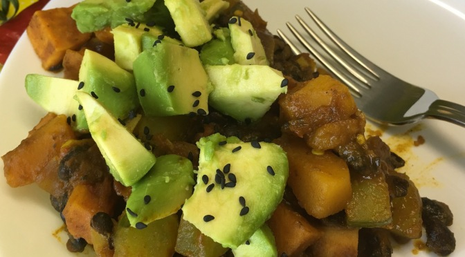 Black Bean Stew with Cucumber & Pumpkin