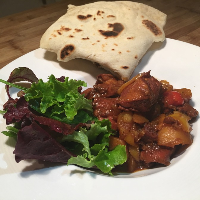 Brown Stew Chicken with Roti
